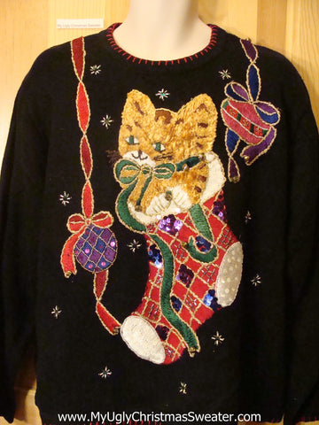 Ugly Christmas Sweater 80s Bling Cat with Jingle Bells