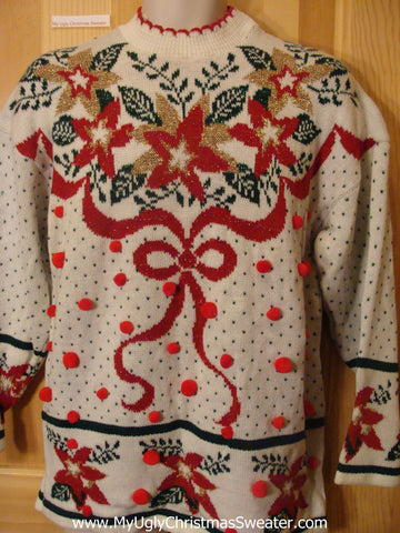 Ugly Christmas Sweater 80s Poinsettias Bow and PomPoms