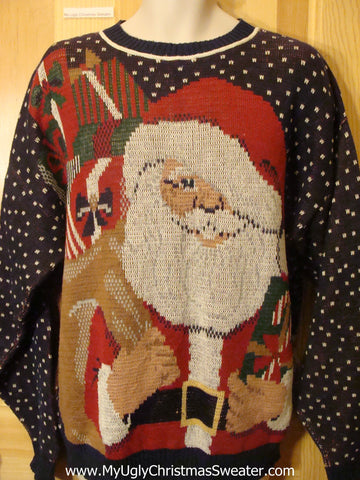 Holy Grail of Ugly Christmas Sweater 80s 2sided Santa