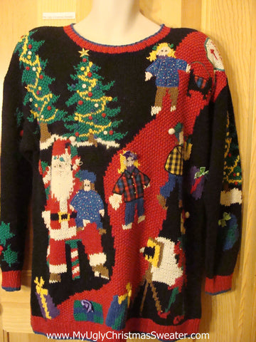 Ugly Christmas Sweater 80s Children on Santas Lap