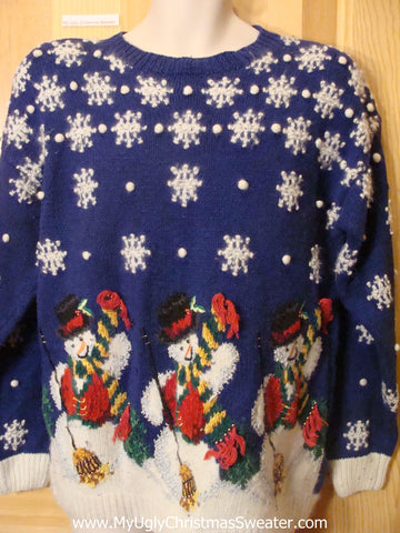 Ugly Christmas Sweater 80s Gem with Snowmen Triplets