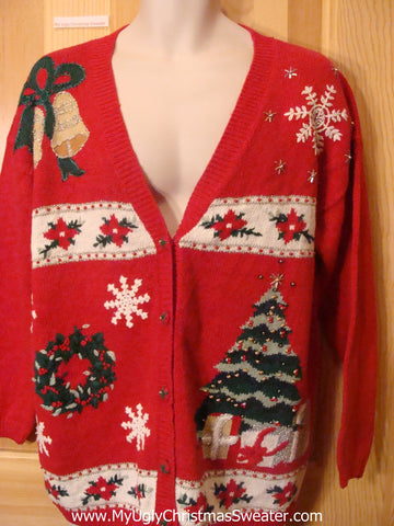 Ugly Christmas Sweater Cardigan with Poinsettias