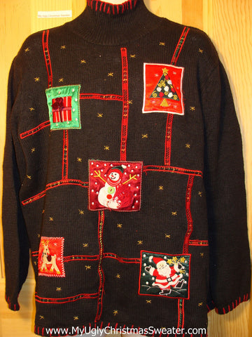Tacky Ugly Christmas Sweater Grid of Festive Decorations (f241)