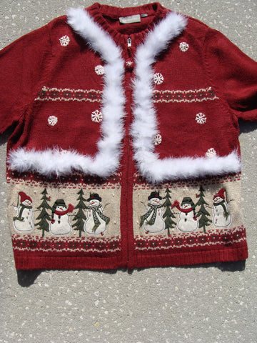 Ugly Christmas Sweater Snowmen and Snowflakes