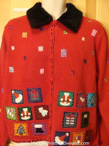 Ugly Christmas Sweater Crafty Boxes Furry Collar