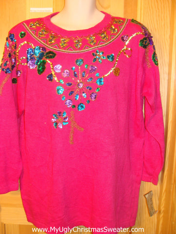 Ugly 80s Glam Bling Pink Sweater