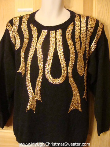 Ugly Christmas Sweater Black Bling 80s Glam Pullover