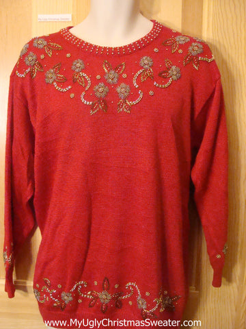 Ugly Retro 80s Glam Bling Pullover Sweater