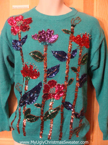 Ugly Retro 80s Sweater with Huge Bling Horrible Flowers