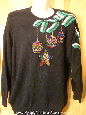 Ugly Christmas Sweater 80s Bling Ornaments