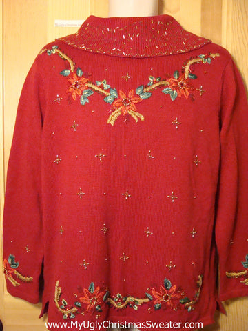 Tacky Ugly Christmas Red Sweater with Bling Filled Poinsettias  (f243)