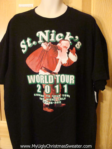 Ugly Christmas Sweater Party Tshirt St Nicks World Tour