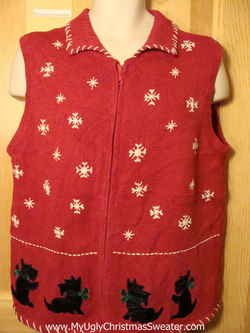 Tacky Ugly Christmas Sweater Vest with Scotty Dogs & Snowflakes (f244)