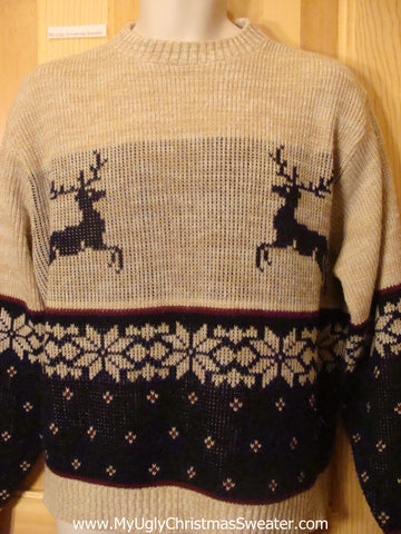 Ugly Christmas Sweater Vintage Style Leaping Reindeer