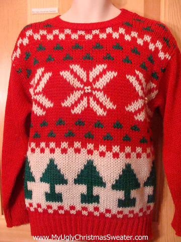 Ugly Christmas Sweater 80s Colorful Trees and Snowflakes