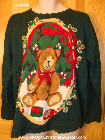 Ugly Christmas Sweater Teddy Bear and Red Bows