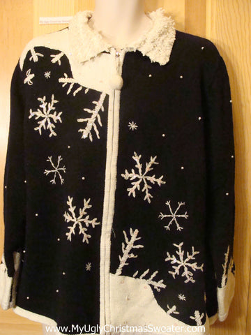 Ugly Christmas Sweater Huge Snowflakes Furry Collar