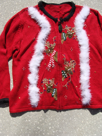 Ugly Christmas Sweater Cheesy Funny Reindeer