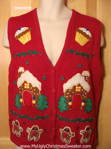 Tacky Ugly Christmas Sweater Vest with Gingerbread Men and Cupcakes (f245)