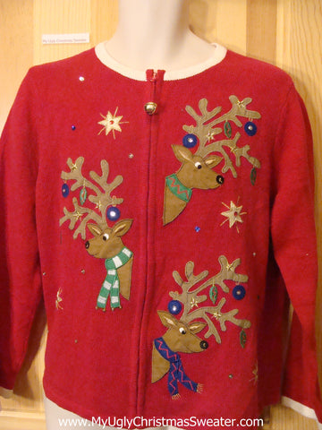 Ugly Christmas Sweater with Funny Peaking Reindeer
