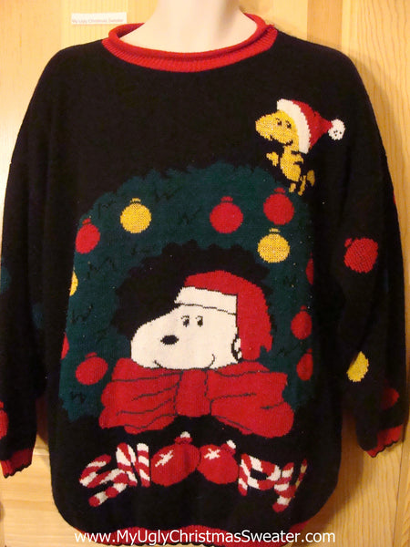 ugly christmas sweater 80s snoopy dog tweet bird