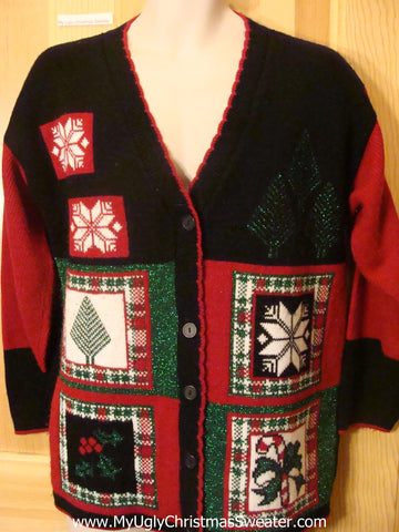 Ugly Christmas Sweater 80s Cardigan Snowflakes and Ivy