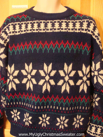 Ugly Christmas Sweater 2sided Nordic Snowflakes