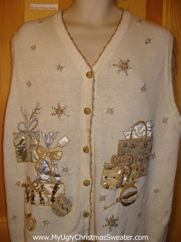 Tacky Ugly Christmas Sweater Vest with Gold and Silver Bling (f246)