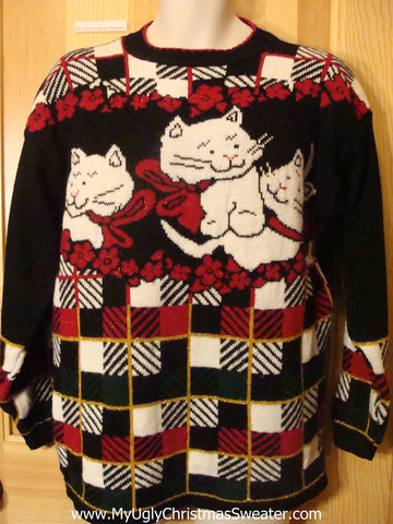 Ugly Christmas Sweater Cheesy Cats 80s Pullover