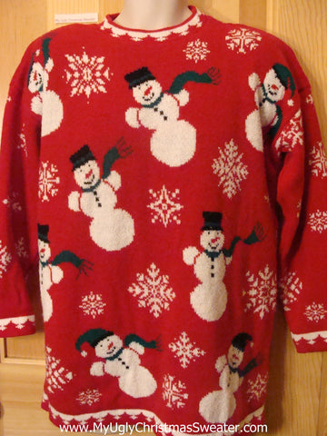 Ugly Christmas Sweater 80s Snowmen 2sided