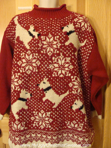 Ugly Christmas Sweater Red Snowflakes Scottie Dogs