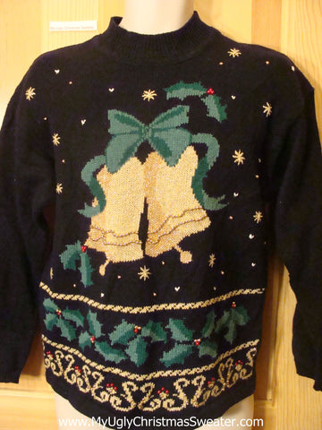 Ugly Christmas Sweater 80s Bells and Bows