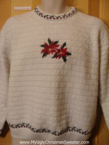 Cheap Ugly Christmas Sweater Red Poinsettias