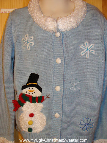 Tacky Ugly Christmas Sweater with Snowman and Furry Collar. Child Size 6X (f247)
