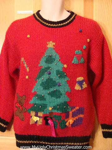 Ugly Christmas Sweater 80s Tree with Bead Bling
