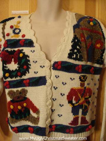Ugly Christmas Sweater Veste 80s Nutcracker Bear