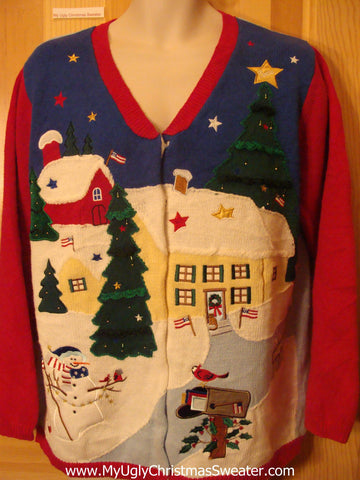 Ugly Christmas Sweater 2sided Patriotic Angel