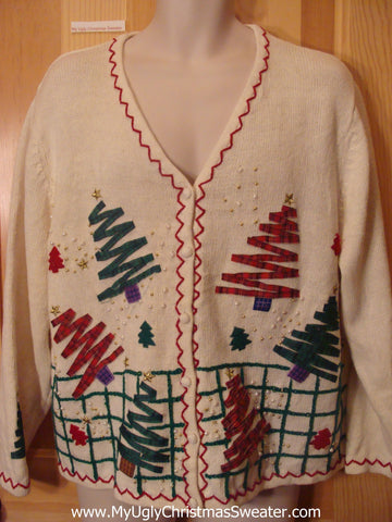 Ugly Christmas Sweater Zig Zag Trees and Snowmen
