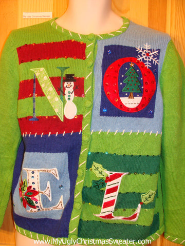 Ugly Christmas Sweater Lime Green NOEL