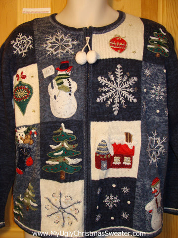 Tacky Ugly Christmas Sweater with Pom Pom Zipper Pulls (f248)