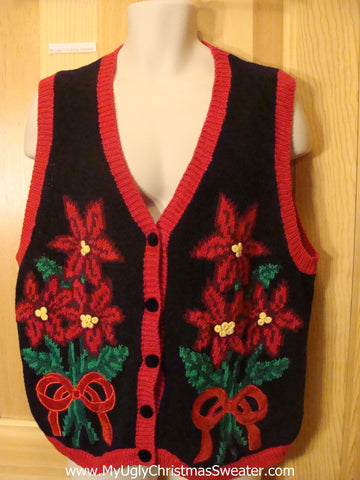 Ugly Christmas Sweater Vest with Poinsettias