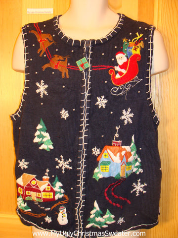 Ugly Christmas Sweater Vest Santa Reindeer