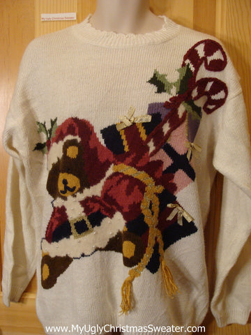 Ugly Christmas Sweater Santa Bear Pullover