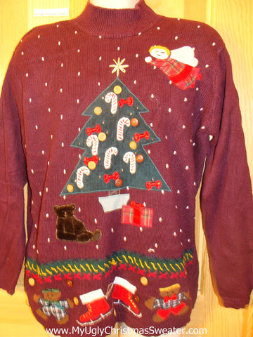 Ugly Christmas Sweater Two Sided 80s Pullover