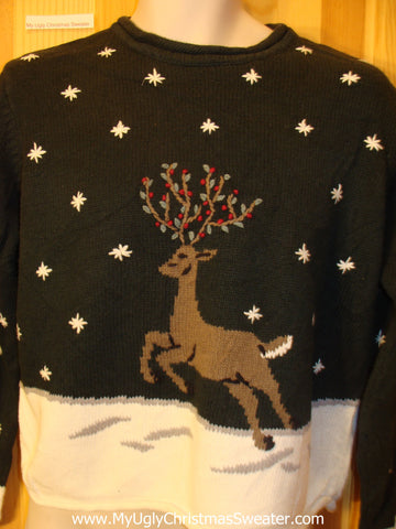 Ugly Christmas Sweater Leaping Reindeer Winter Wonderland