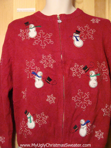Tacky Ugly Christmas Sweater with Frightened Windy Snowmen (f249)