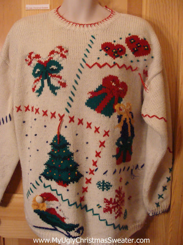 Funny Ugly Christmas Sweater 80s Santa Sledding