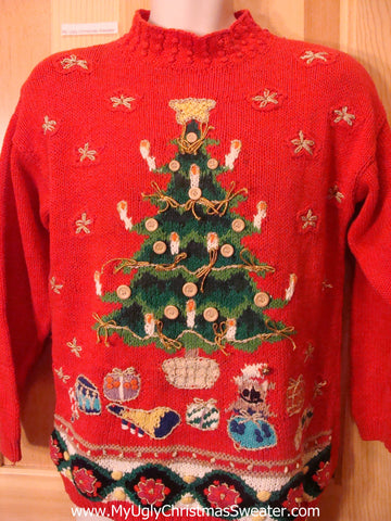 Funny Ugly Christmas Sweater 80s Tree with Buttons