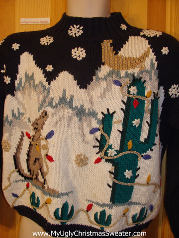 Rare 80s Cactus and Wolf Ugly Christmas Sweater