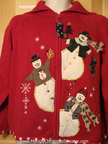 Tacky Ugly Christmas Sweater Wide-Bottom Peaking Snowmen on Front and Back (f250)